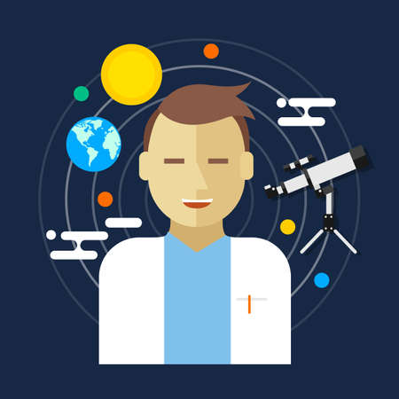 astronomer: astronomer space science man telescope vector illustration