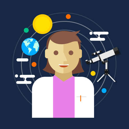 astronomer: astronomer space science women telescope vector illustration Illustration