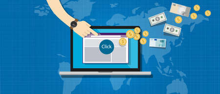 affiliation affiliate marketing pay per click vector illustration