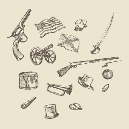 a cannon: civil war item object hand drawing illustration history