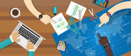 collaboration: collaboration blueprint teamwork working together desk vector