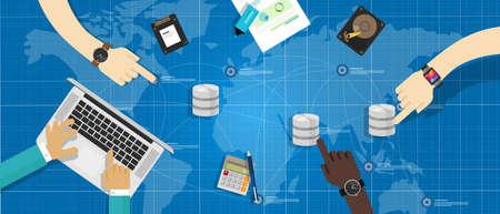 virtualizacion: almacenamiento de la base de datos de gesti�n de virtualizaci�n concepto de servidor de datos Vectores
