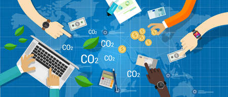 carbon footprint: carbon emission co2 trading business bargain green economy Illustration