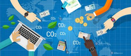 Kohlenstoff-Emissionen CO2-Handelsgeschäft Schnäppchen grüne Wirtschaft Vektorgrafik