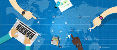 air traffic: manage plane air traffic control distribution aircraft calculation trading business Illustration