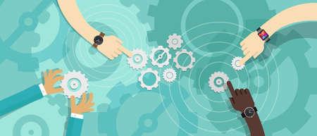 gear team work collaboration partnership corporate business Illustration