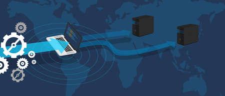 world wide web: Server distribution virtual network spread database mirror Stock Photo