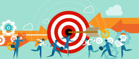 target business: busines metaphor taget team work direction lader fight