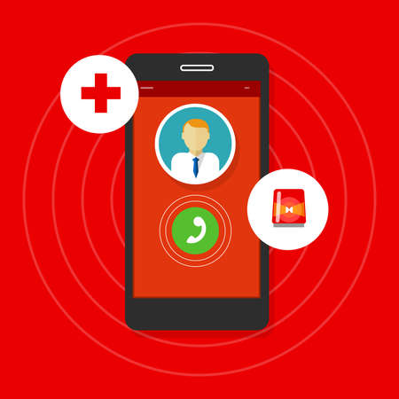 emergency call: health emergency call mobile phone vector illustration