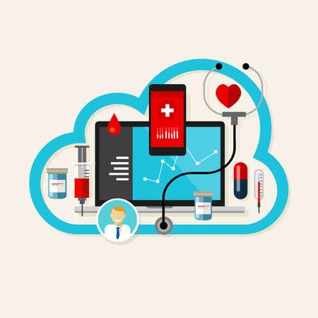 ヘルスケア: オンラインクラウド医療健康インターネット薬ベクトル図  イラスト・ベクター素材