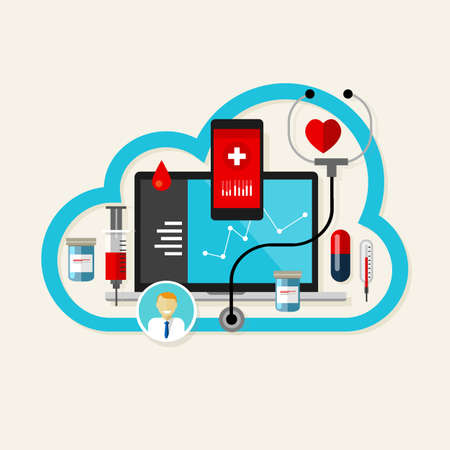 tecnologia: nuvola in linea medico-sanitaria internet farmaco illustrazione vettoriale Vettoriali