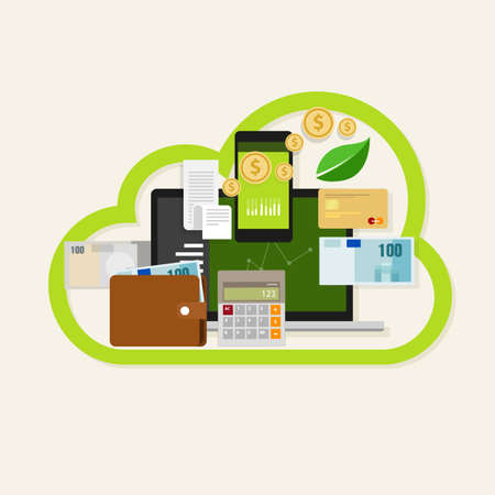 wealth management: cloud financial money wealth  management online service internet banking Illustration