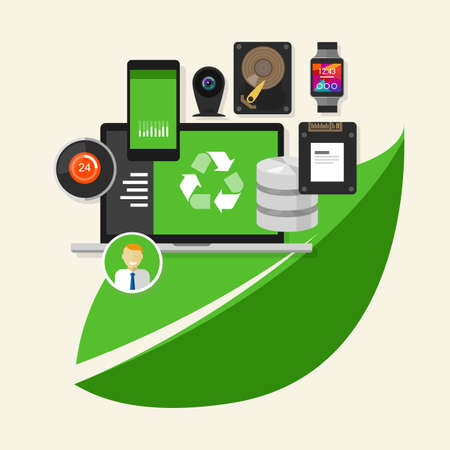 go green icons: green recycle computer IT information technology computing environment friendly Illustration