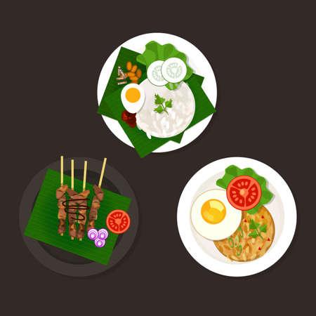 indonesisch: Indonesische Maleisische voedsel nasi goreng lemak sate ayam Stock Illustratie