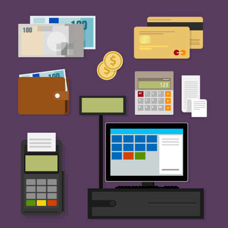 pos: payment point of sales pos register icon cash credit set