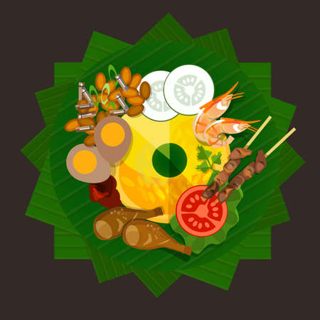 fried noodles: indonesia tumpeng rice traditional food yellow rice vector Illustration