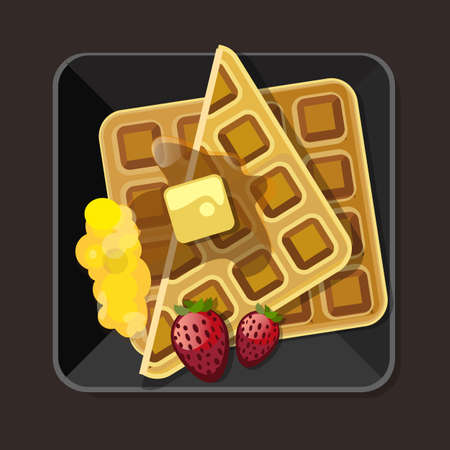 syrup: waffle with syrup butter strawberry plate vector Illustration