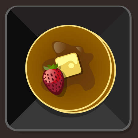 maple syrup: pancake with syrup butter strawberry plate vector Illustration