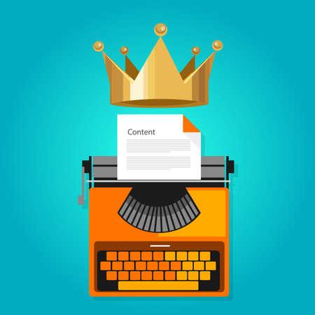 rey: contenido es el rey optimización web seo icono de vectores