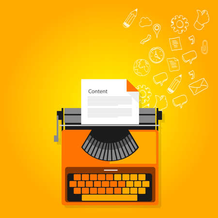pr: content marketing copywriting typewriter icons flat vector