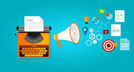 mercadotecnia: Contenido optimización seo blog de marketing en línea de internet Vectores