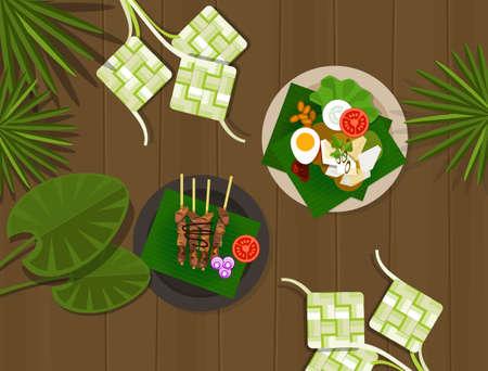hari raya aidilfitri: ketupat lebaran idul fitri ied table food indonesia vector