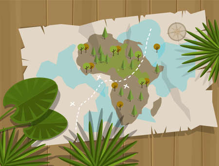 jungle: map jungle africa cartoon treasure hunter cartoon style vector