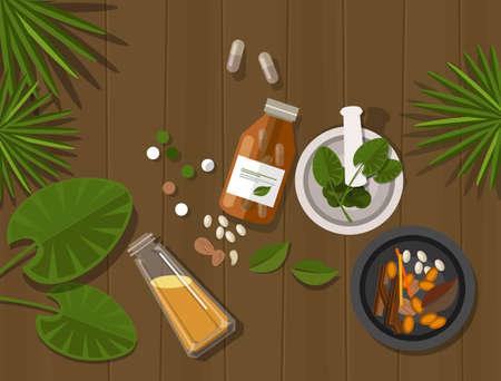 治癒: ハーブの自然薬健康自然の癒しの緑の葉