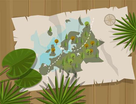carte trésor: carte jungle aventure de bande dessinée europe chasse au trésor