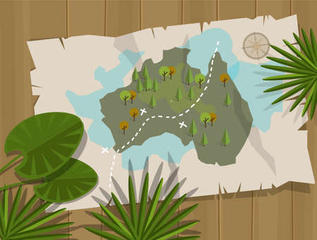 vacation map: jungle map australia cartoon adventure