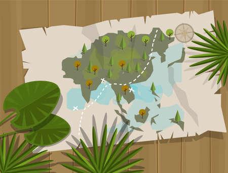 treasure hunt: jungle map asia cartoon adventure treasure hunt