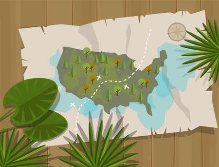 treasure hunt: jungle map america cartoon adventure treasure hunt