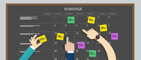 school schedule: calendar schedule board with hand collaboration plan board