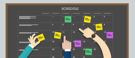 calendario escolar: calendario Tarjeta del horario con el tablero de plan de colaboración mano