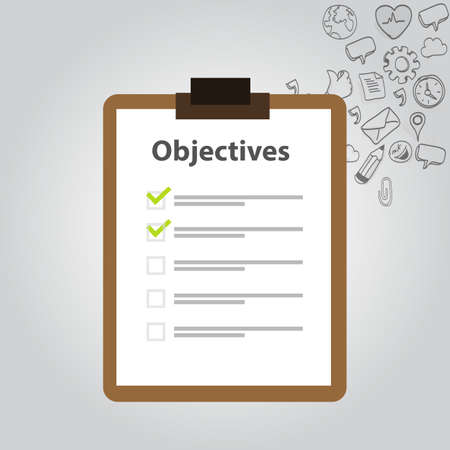 GOALS: objetivo objetivo bordo lista de verificación icono meta Vectores