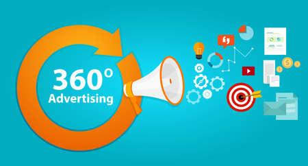 360 Werbeagentur Full-Cover-Konzept Vektor-Anzeigen Standard-Bild - 40593622