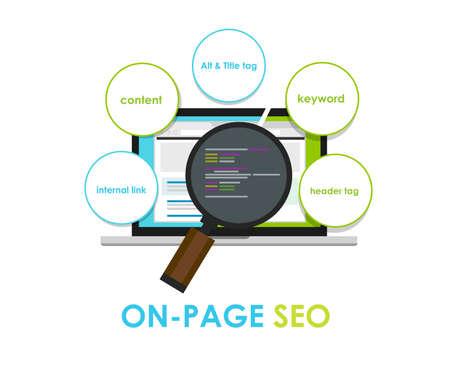 na stronie optymalizacji SEO wyszukiwarki na-stronie meta tytuł Ilustracje wektorowe