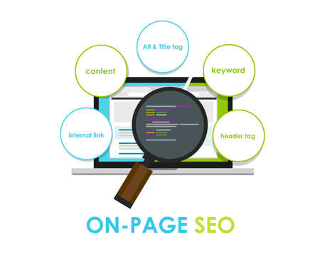 on page seo search engine optimization on-page meta title Фото со стока - 40567458