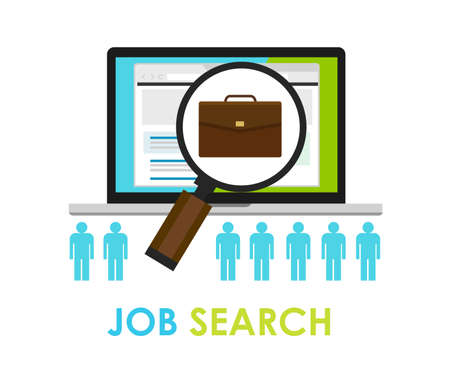 classified: job search bag loop online web employment career icon hunting