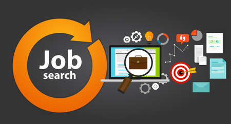 job hunting: job search bag loop online web employment career icon hunting