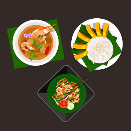 thailand food: thailand food tom yum soup sticky rice mango and pad thai
