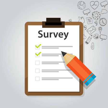 survey online customer test check report marketing Vector