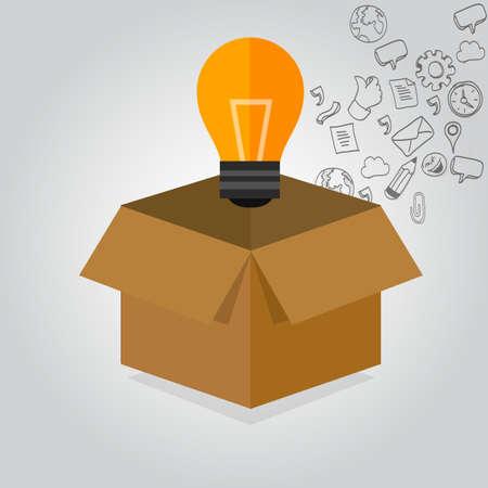 think thinking outside the box idea icon illustration concept Çizim