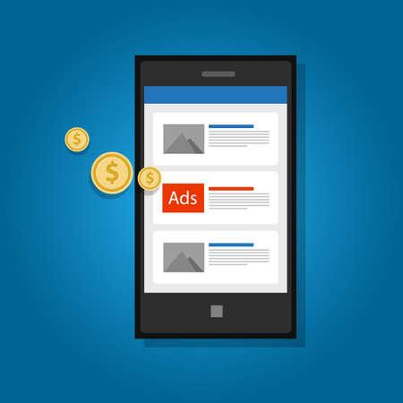 mobiele advertenties reclame telefoon click marketing digitale Vector Illustratie