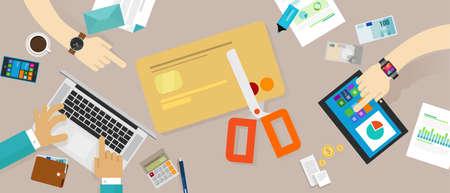 home finances: cut credit card loan debt personal family finance vector Illustration