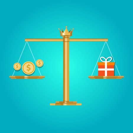 Dla porównania wartość ceny pieniądza, co można dostać za opłatą Ilustracje wektorowe