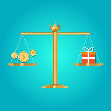 valeur du prix pour la comparaison de l'argent que vous obtenez pour un coût Vecteurs