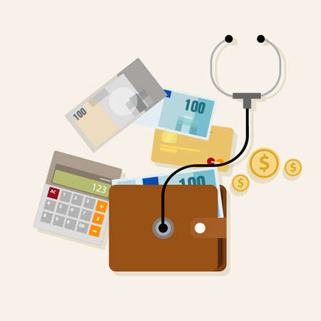 financial condition: financial money management checkup planning assesment vector Illustration