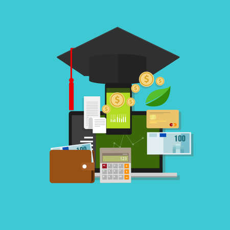 financiële educatie money management graduate kosten college betaling Stock Illustratie