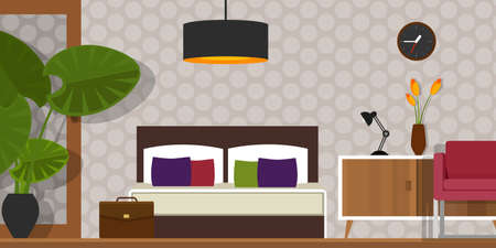 bedroom wall: bedroom interior vector house furniture vintage bed